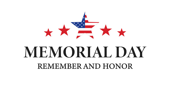 Memorial Day . American flag , vector icon . USA memorial day ,text banner on white background .