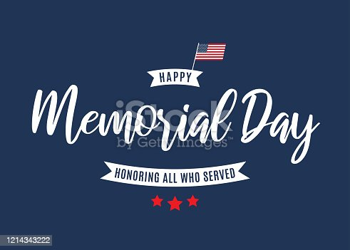 istock Memorial Day background. Honoring all who served. Vector 1214343222