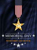 Memorial day background. Silver star. National holiday of the USA. Vector illustration.