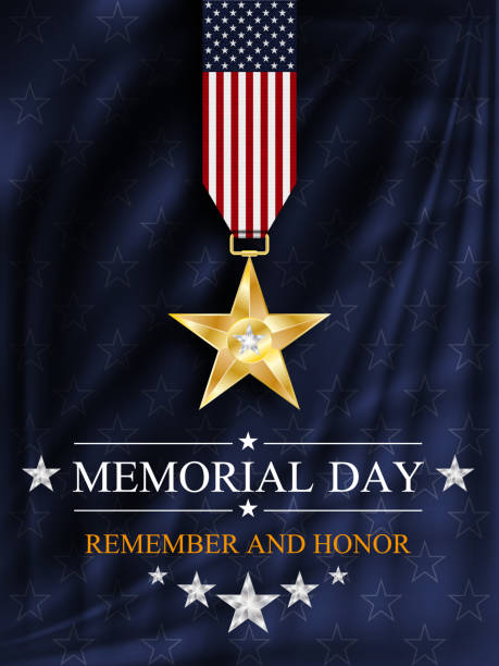 memorial day background. silver star. national holiday of the usa. - memorial day stock illustrations