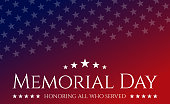 Celebrative texts and American flag elements for USA Memorial Day. Patriotic celebrative background. Vector concept illustration.