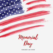USA Memorial day background. Abstract grunge brushed flag of United States of America with text.