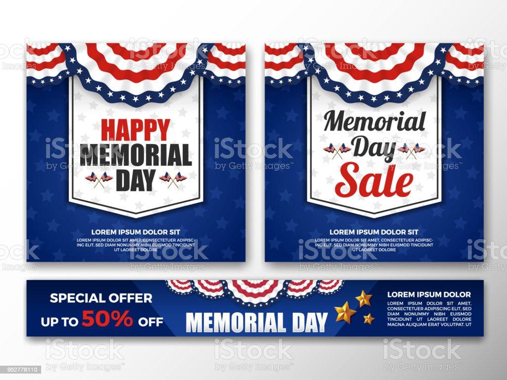 USA Memorial Day Background vector art illustration