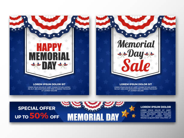usa memorial day background - memorial day stock illustrations