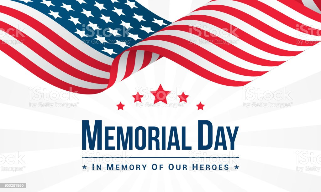 Memorial Day Background Vector illustration, USA flag waving with text. vector art illustration