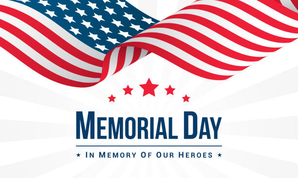 memorial day background vector illustration, usa flag waving with text. - memorial day stock illustrations