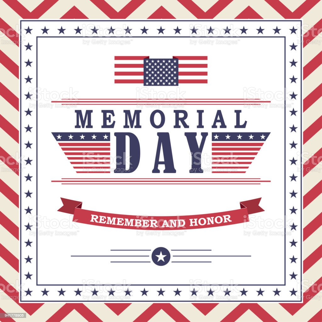 memorial day background with stars ribbon and lettering template for