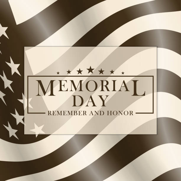 memorial day background with usa flag and lettering. black and white template for memorial day design. memorial day background in retro style. vector. - memorial day weekend stock illustrations