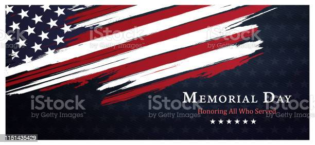 Memorial Day Backgroundunited States Flag With Respect Honor And Gratitude Posters Modern Design Vector Illustration - Stockowe grafiki wektorowe i więcej obrazów Czerwony