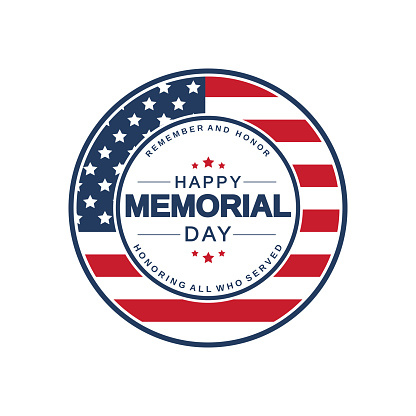 Memorial Day badge. Remember and honor. Vector