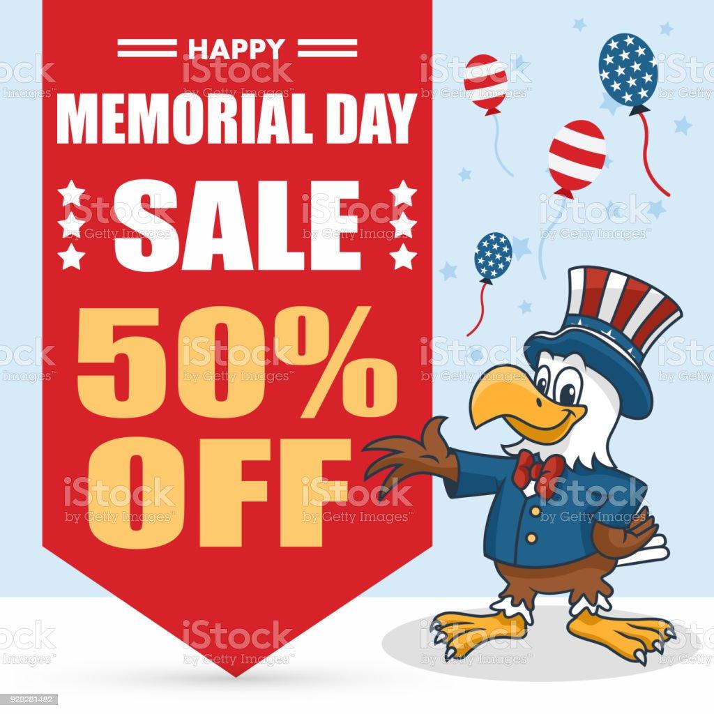 Memorial Day Banner Cartoon Eagle Uncle Sam Hut Vektorillustration ...