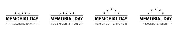 memorial day banner design. vector isolated design elements. memorial day poster concept design. remember and honor. - memorial day weekend stock illustrations