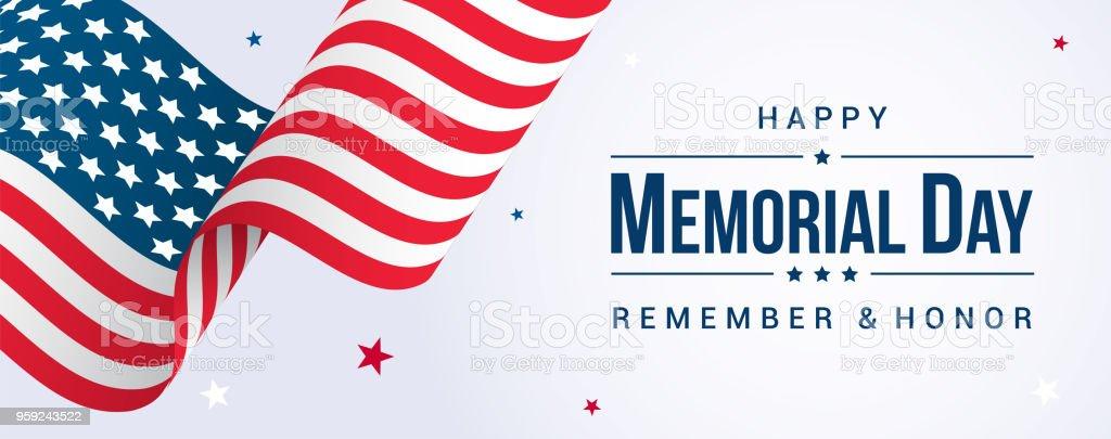 Memorial Day Banner Vector illustration, USA flag waving with stars on bright background. vector art illustration