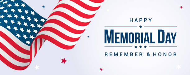 memorial day banner vector illustration, usa flag waving with stars on bright background. - memorial day stock illustrations