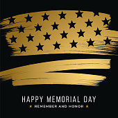 Memorial Day banner with stars and stripes on black background. Template for Memorial Day. - Illustration