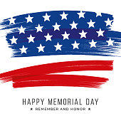 Memorial Day banner with stars and stripes. Template for Memorial Day. Isolated on white. - Illustration