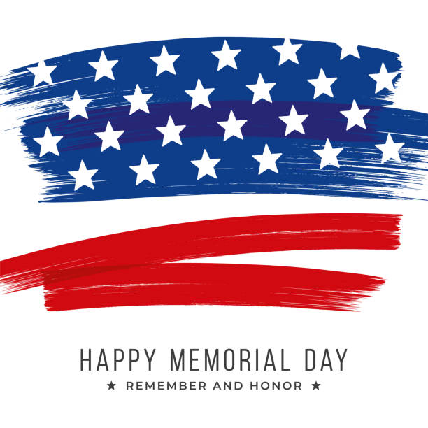 memorial day banner with stars and stripes. template for memorial day. - memorial day stock illustrations