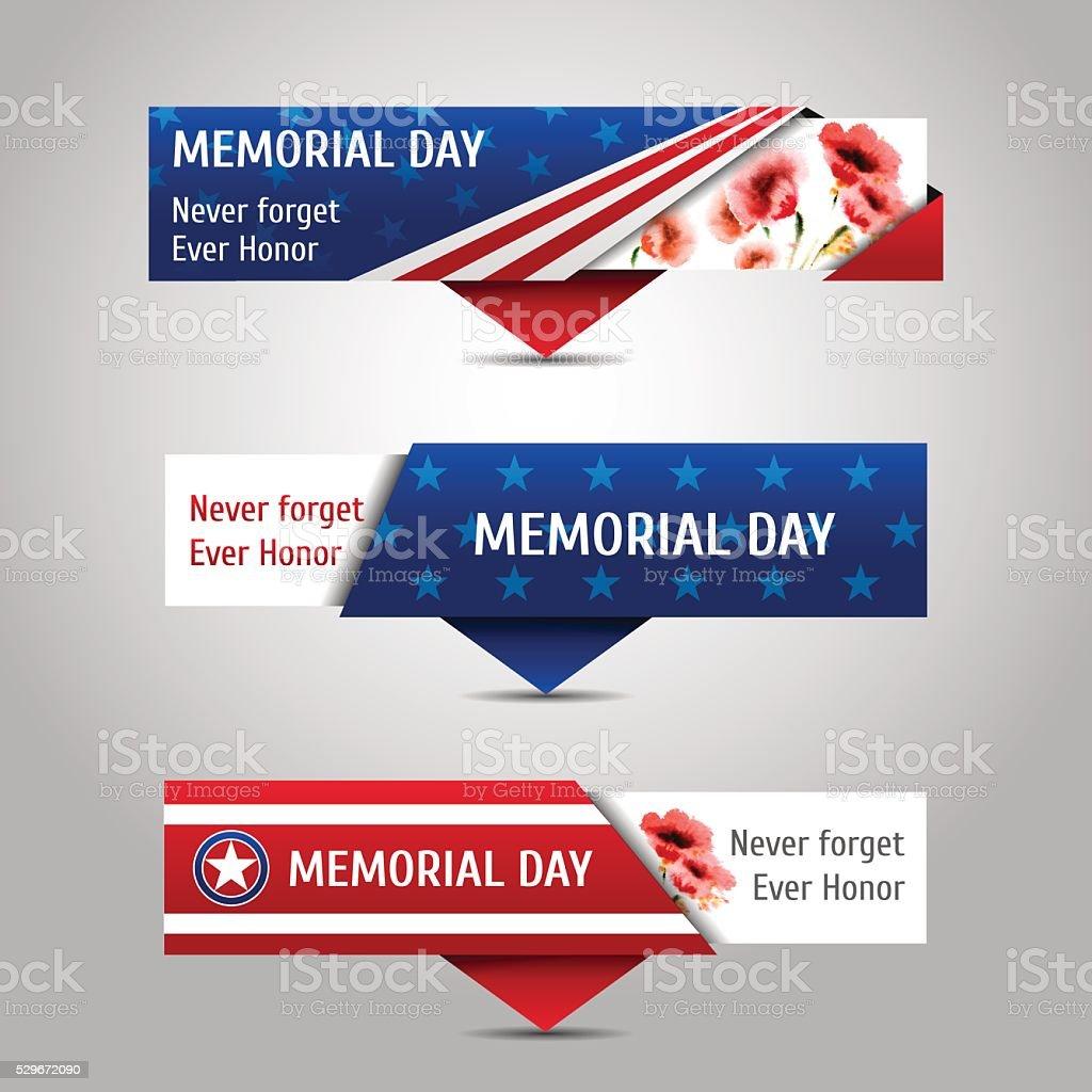 Memorial day banners. vector art illustration