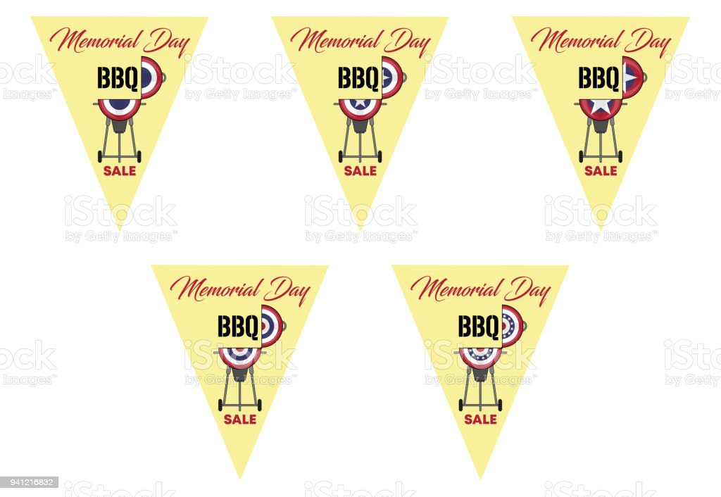 memorial day bbq on triangle bunting flags stock vector art more