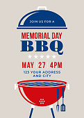 Memorial Day BBQ Party Invitation - Illustration