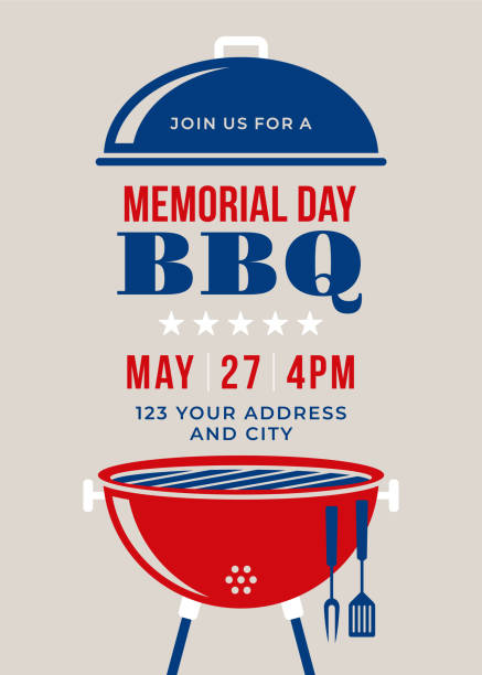 illustrations, cliparts, dessins animés et icônes de memorial day bbq invitation fête-illustration - barbecue