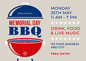Memorial Day BBQ Party Invitation - Illustration. Stock illustration