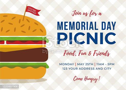 istock Memorial Day BBQ Party Invitation - Illustration. 1220507500
