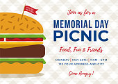 Memorial Day BBQ Party Invitation - Illustration. Stock illustration