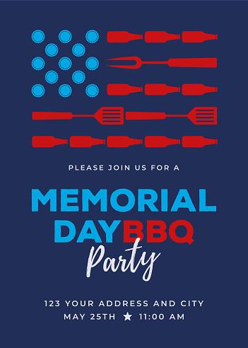 Memorial Day BBQ Party Invitation - Illustration.