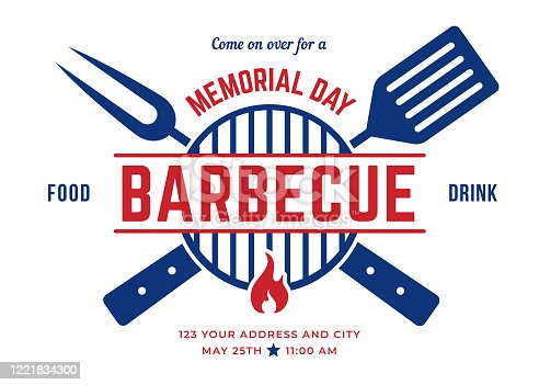 Memorial Day BBQ Party Invitation Template. stock illustration