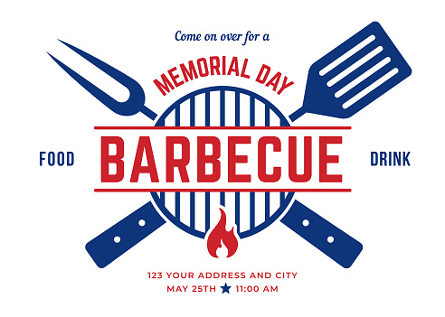 Memorial Day BBQ Party Invitation Template.