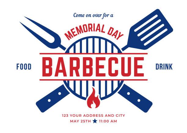 Memorial Day BBQ Party Invitation Template. vector art illustration