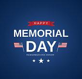 Memorial Day blue card, banner on blue background. Vector illustration. EPS10