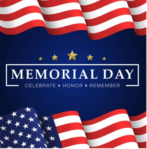 ilustraciones, imágenes clip art, dibujos animados e iconos de stock de día de los caídos. tarjeta de felicitación azul con bandera de usa. - memorial day