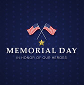 Memorial day. Blue greeting card with USA flags.