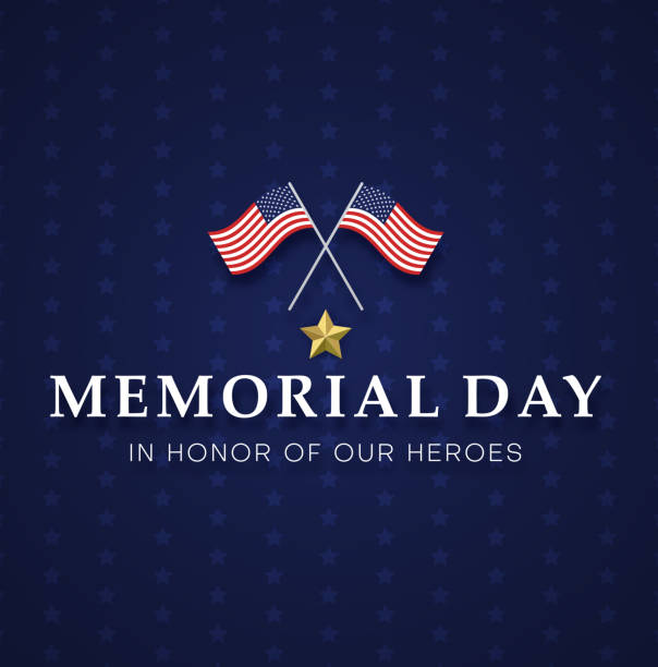 memorial day. blue greeting card with usa flags. - memorial day stock illustrations