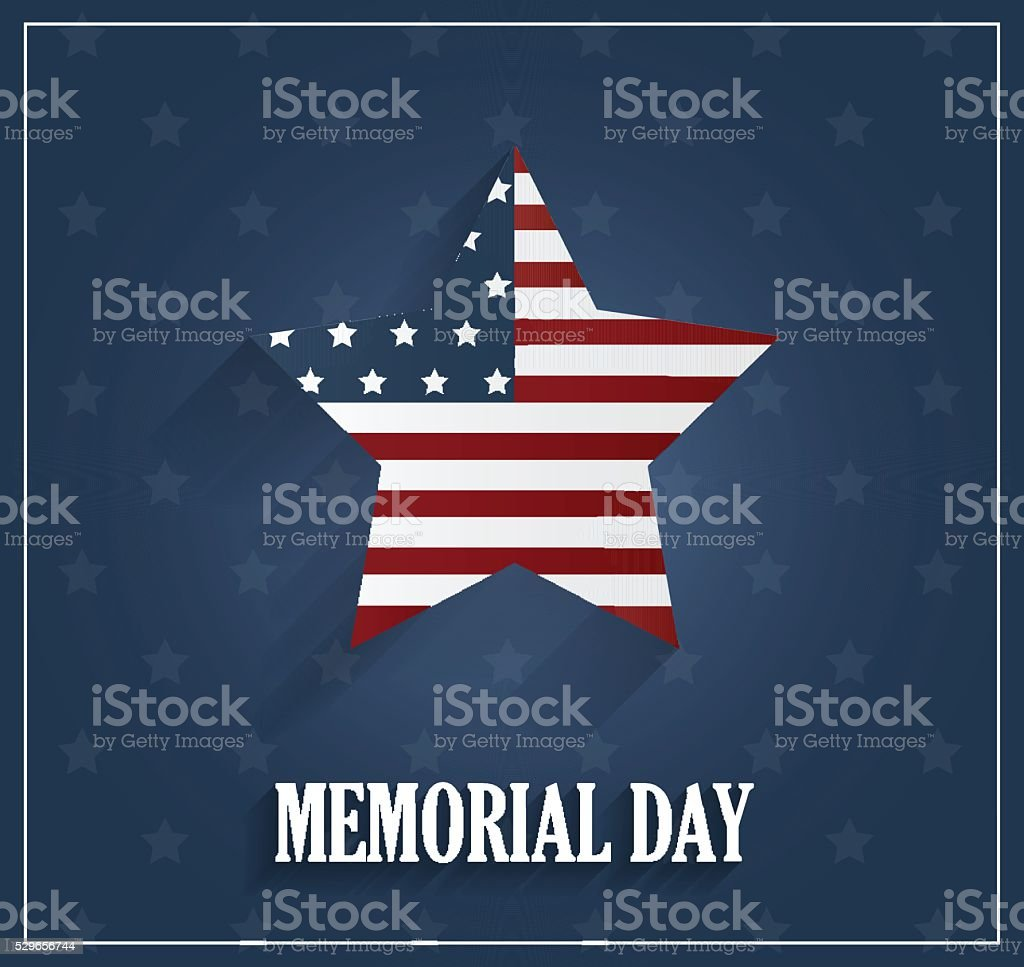 Memorial Day blue poster with star background vector art illustration
