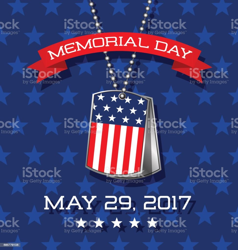 Memorial Day card or banner design. Soldier's dog tags with American flag. royalty-free memorial day card or banner design soldiers dog tags with american flag stock vector art & more images of american culture