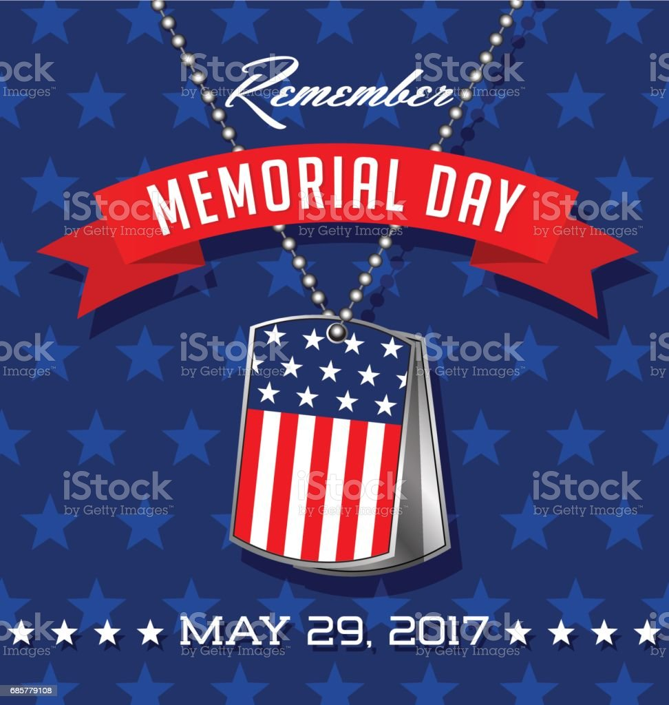 Memorial Day card or banner design. Soldier's dog tags with American flag. vector art illustration