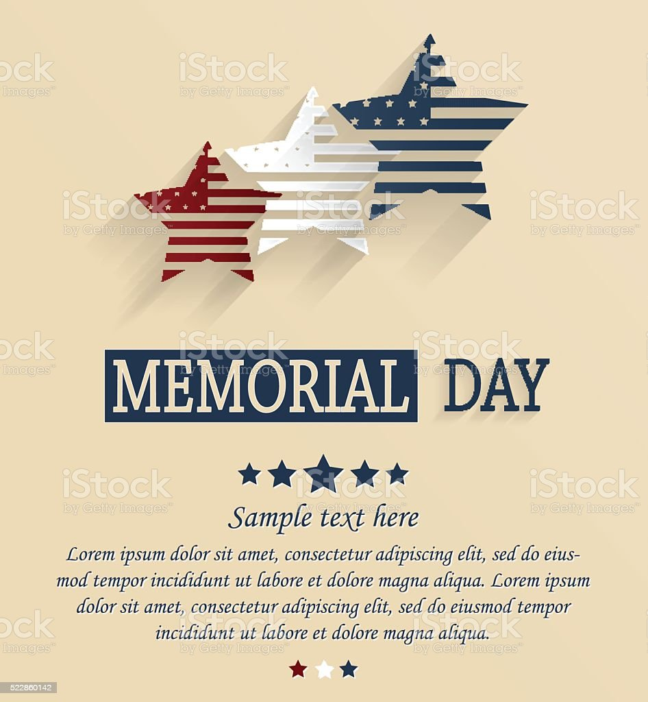 Memorial Day card. Red, white and blue stars vector art illustration