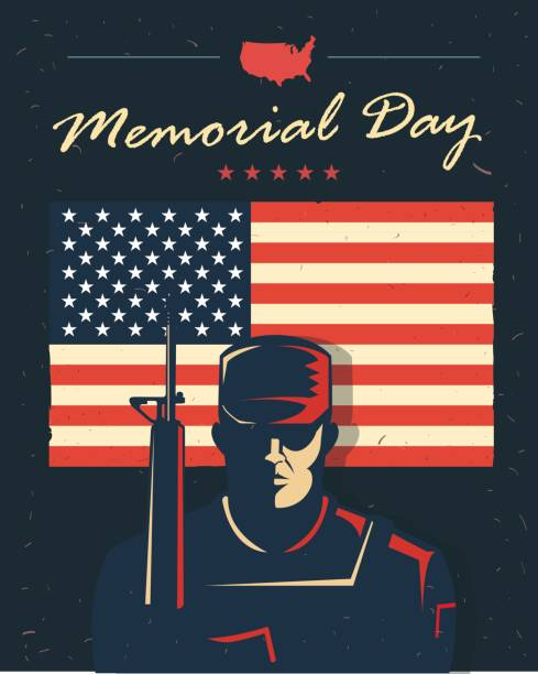 memorial day card. soldier against american flag. patriotic poster. - memorial day weekend stock illustrations