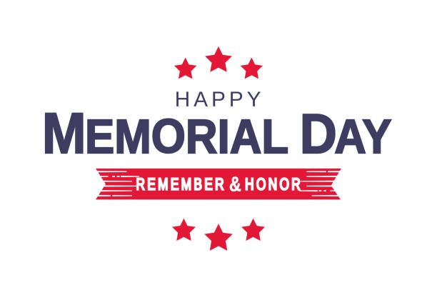 memorial day card, white background. remember and honor. vector illustration. - memorial day stock illustrations