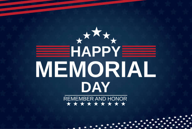 memorial day card with stars. remember and honor. vector illustration. - memorial day stock illustrations