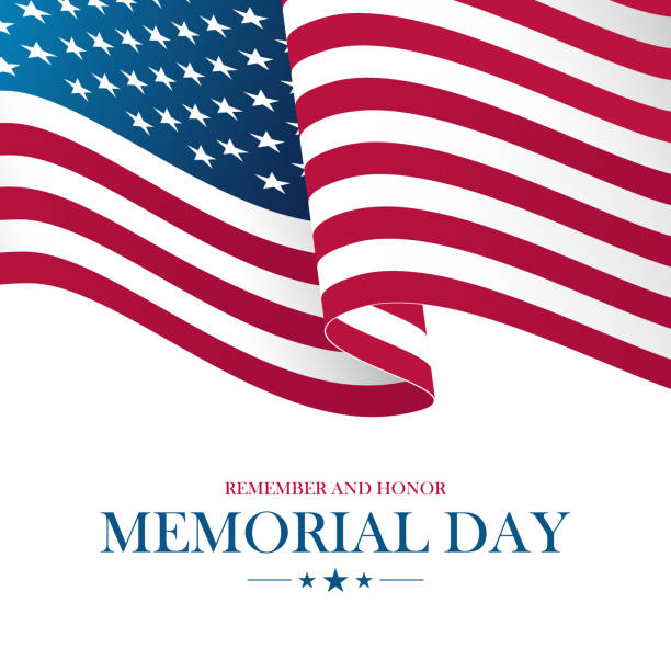 USA Memorial Day card with waving United States national flag. vector art illustration