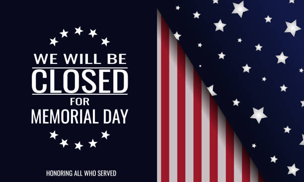 memorial day closed - memorial day stock illustrations