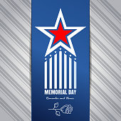 Memorial Day concept design. Poster with inscription - Remember and honor. Federal holiday in the United States. Vector illustration