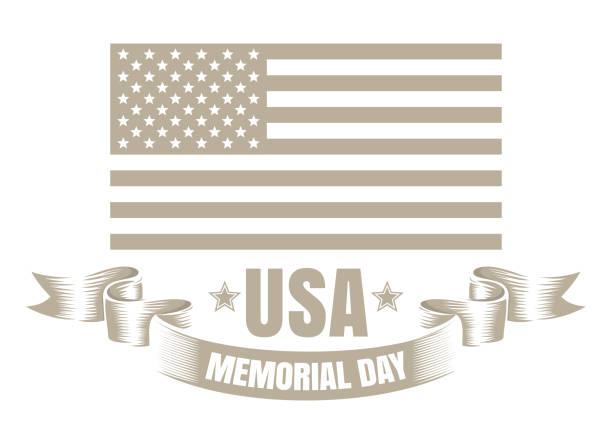 memorial day design - monochrom stock illustrations