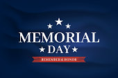 Memorial Day elegant poster, satin silk fabric background. Remember and honor. Vector illustration. EPS10