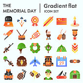 Memorial day flat icon set, holiday symbolism symbols collection, vector sketches, logo illustrations, patriotic army signs flat pictograms package isolated on white background, eps 10