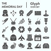 Memorial day glyph icon set, holiday symbols collection, vector sketches, logo illustrations, patriotic army signs solid pictograms package isolated on white background, eps 10